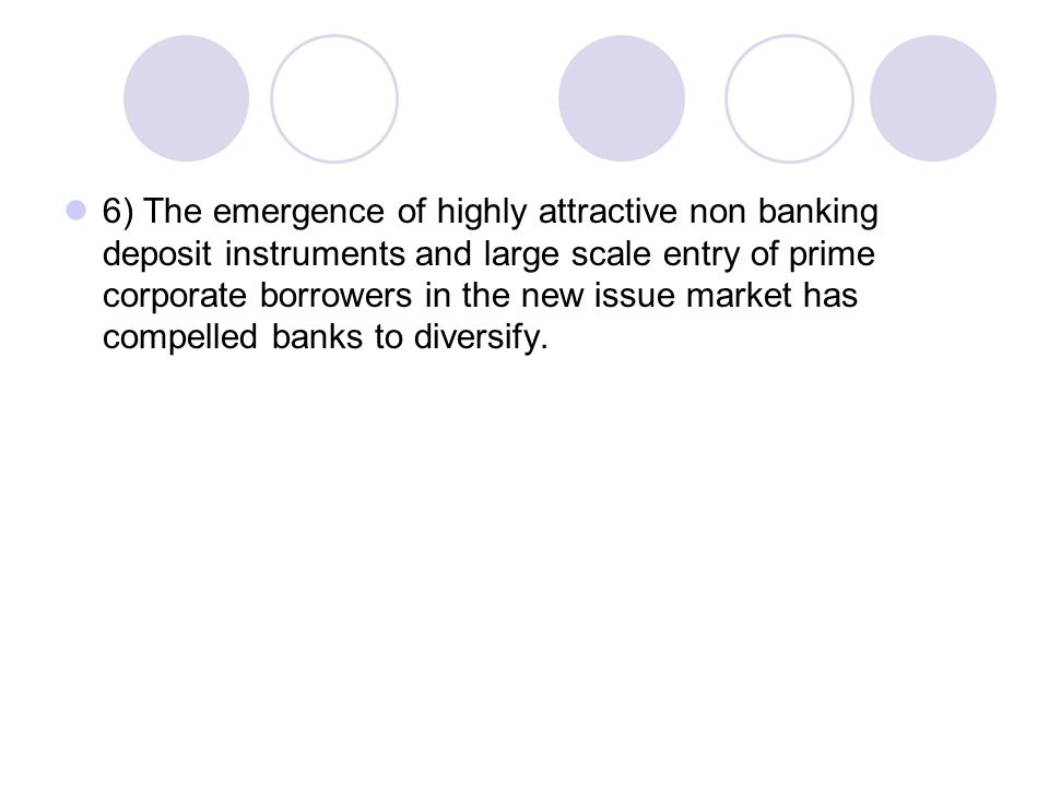 6) The emergence of highly attractive non banking deposit instruments and large scale entry of prime corporate borrowers in the new issue market has compelled banks to diversify.