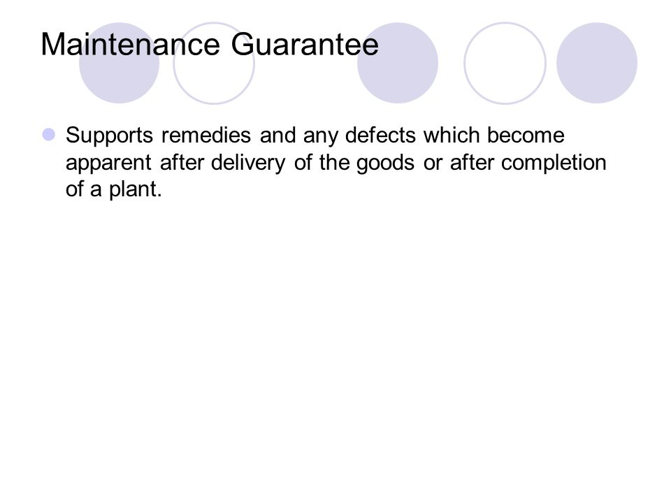 Maintenance Guarantee
