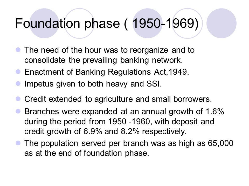 Foundation phase ( 1950-1969) The need of the hour was to reorganize and to consolidate the prevailing banking network.
