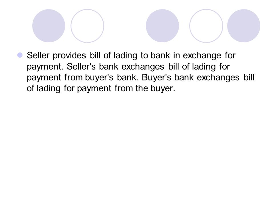 Seller provides bill of lading to bank in exchange for payment