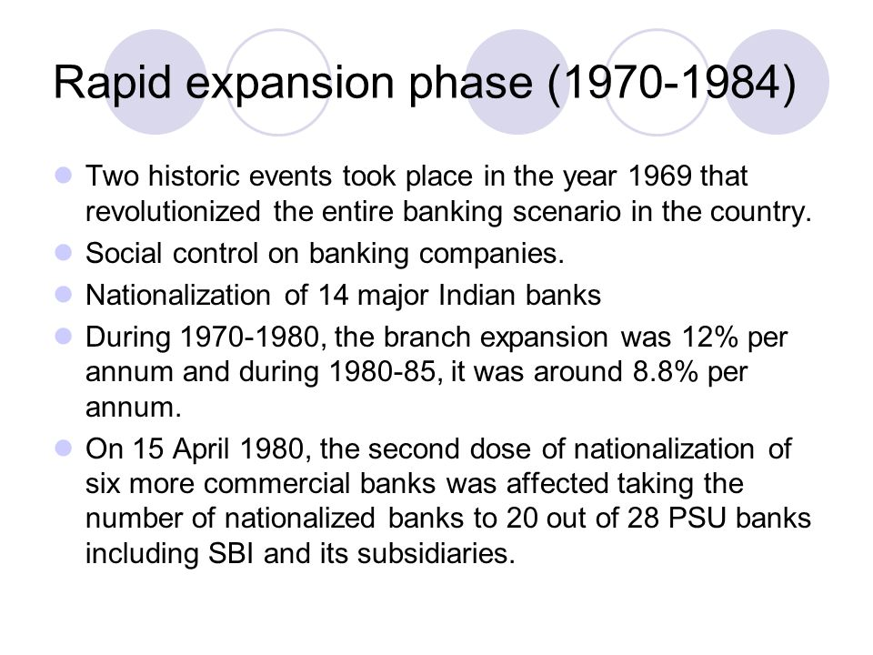 Rapid expansion phase (1970-1984)