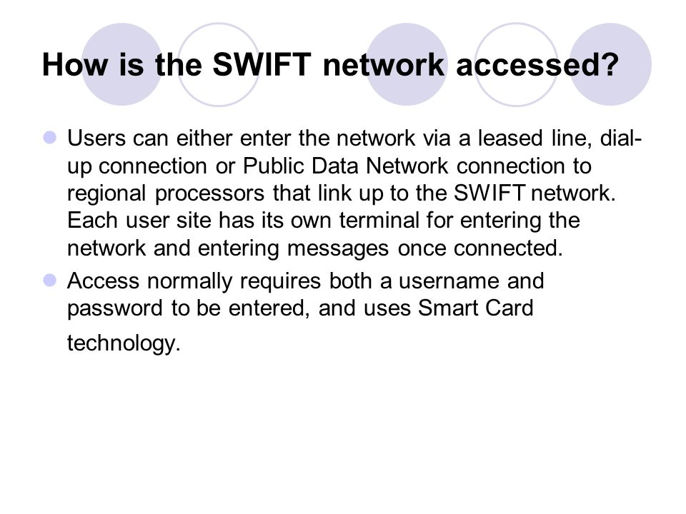 How is the SWIFT network accessed