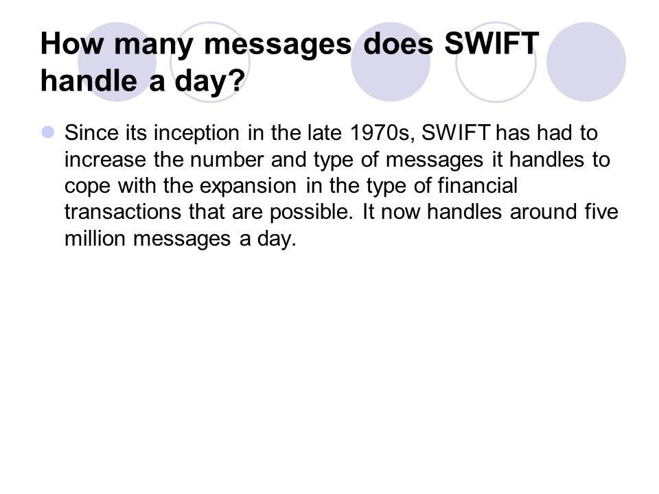 How many messages does SWIFT handle a day