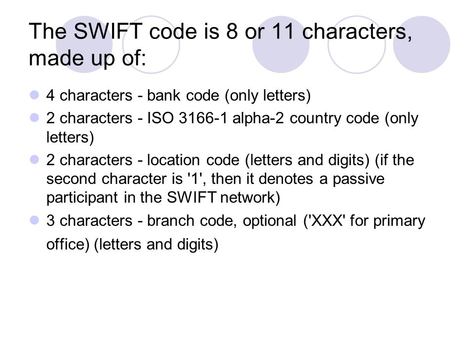 The SWIFT code is 8 or 11 characters, made up of: