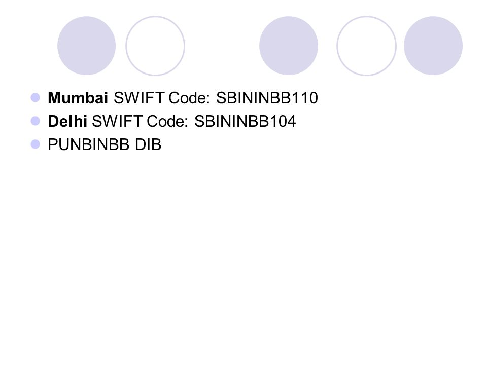 Mumbai SWIFT Code: SBININBB110