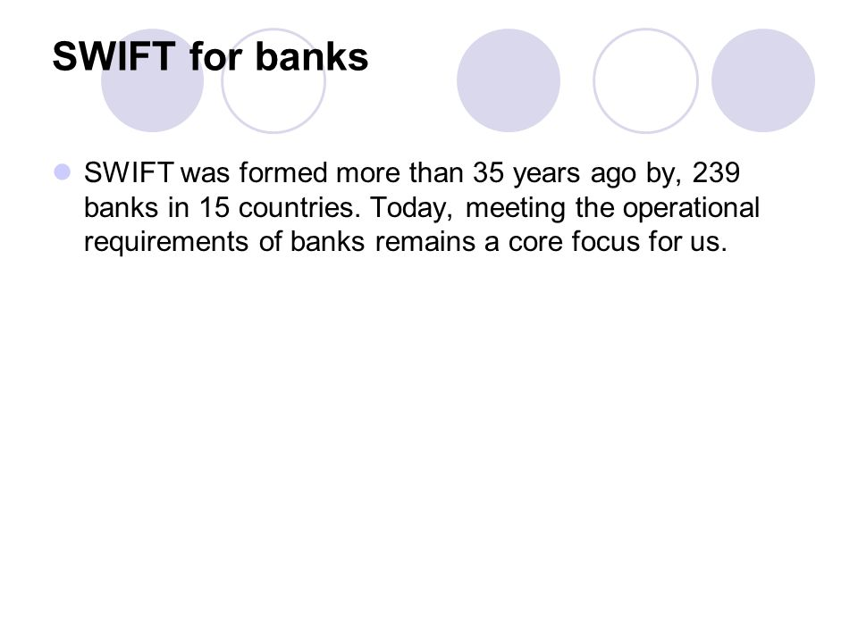 SWIFT for banks
