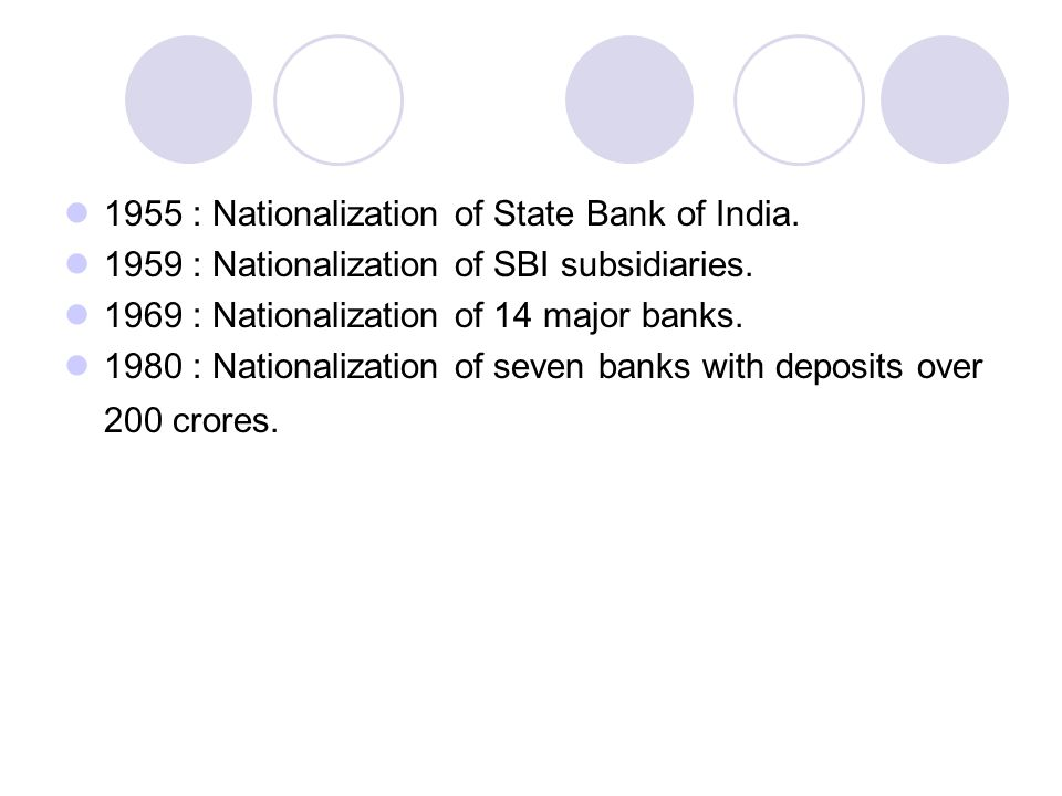1955 : Nationalization of State Bank of India.