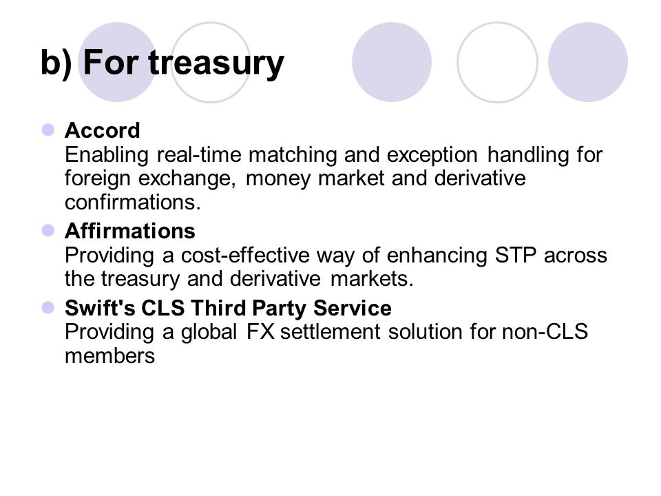 b) For treasury Accord Enabling real-time matching and exception handling for foreign exchange, money market and derivative confirmations.