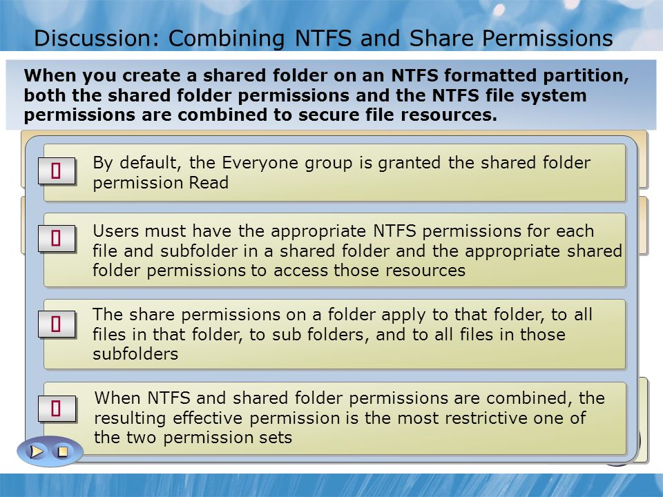 file systems and permissions Each file has an owning account which controls access this account can set three types of permissions -- read, write, and execute -- for three different sets of accounts -- user, group, and other.