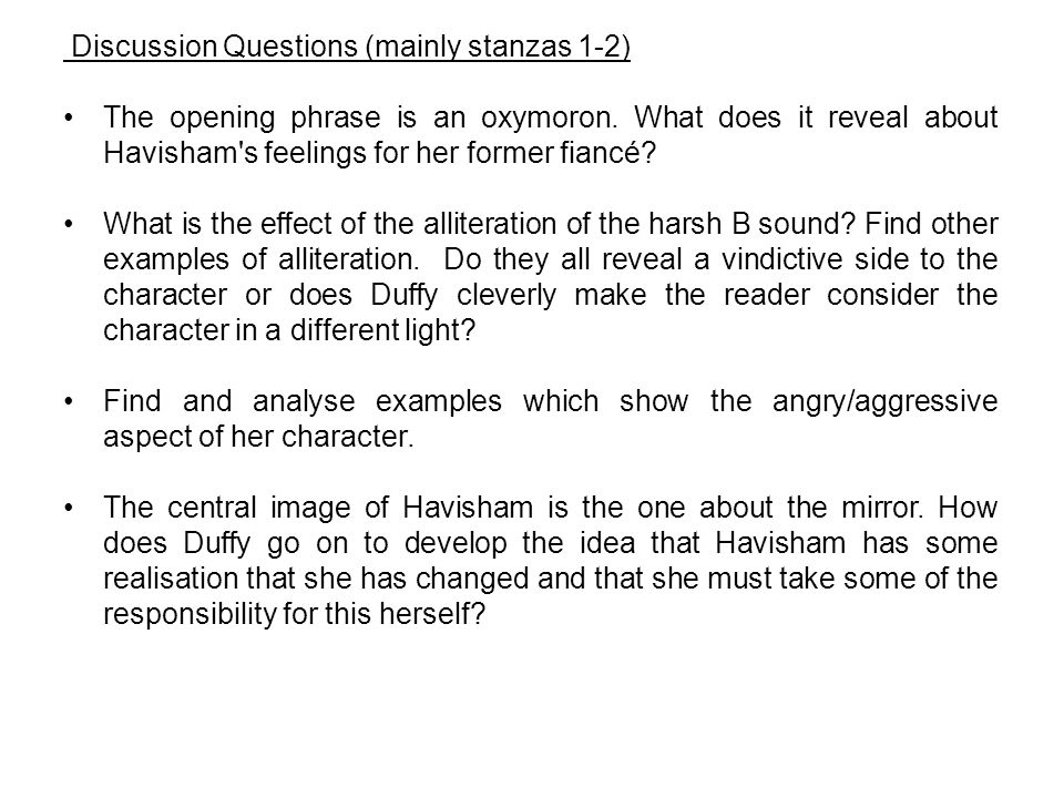 Discussion Questions (mainly stanzas 1-2)