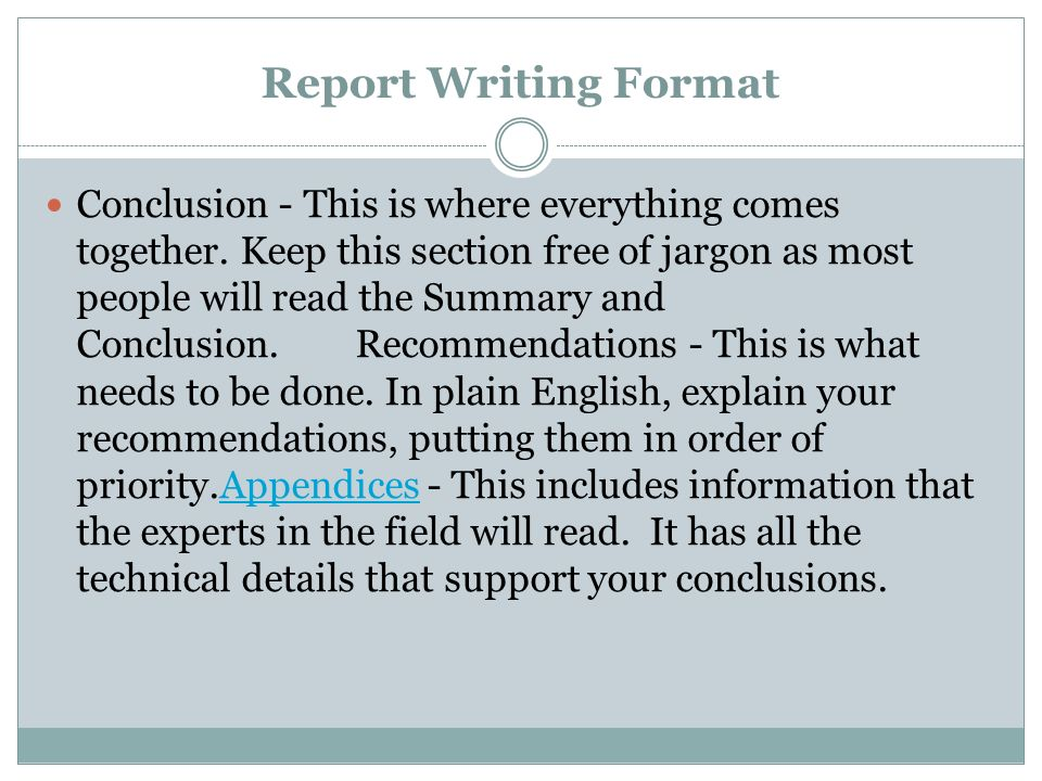 report writing format One good format to follow is that used sub-headings within sections can be an excellent way to further organize the report while scientific writing does not.