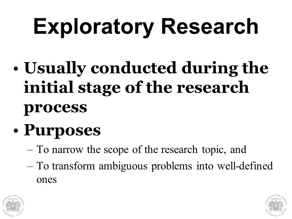 purpose of exploratory research Research questions and hypotheses i the first signpost is the purpose statement narrative research) use these more exploratory verbs that are nondirectional.