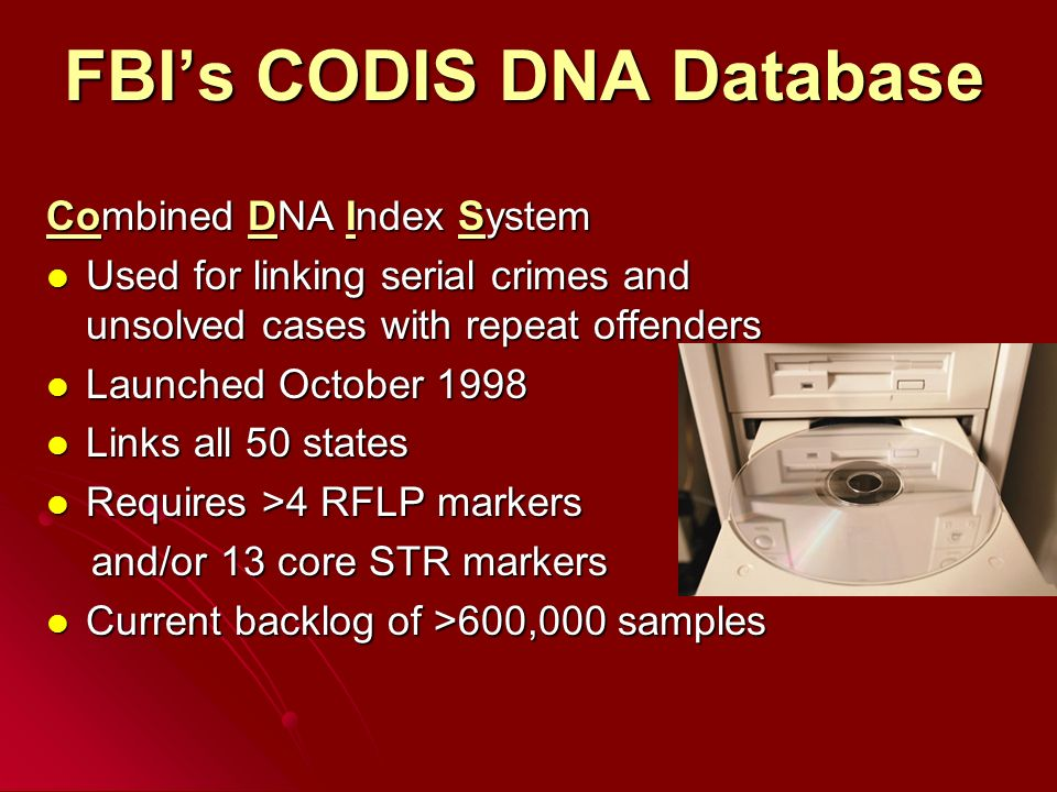 dna databases codis Blackett family dna activity 2 in 1997, the fbi announced the selection of 13 str loci to constitute the core of the united states national database, codis.