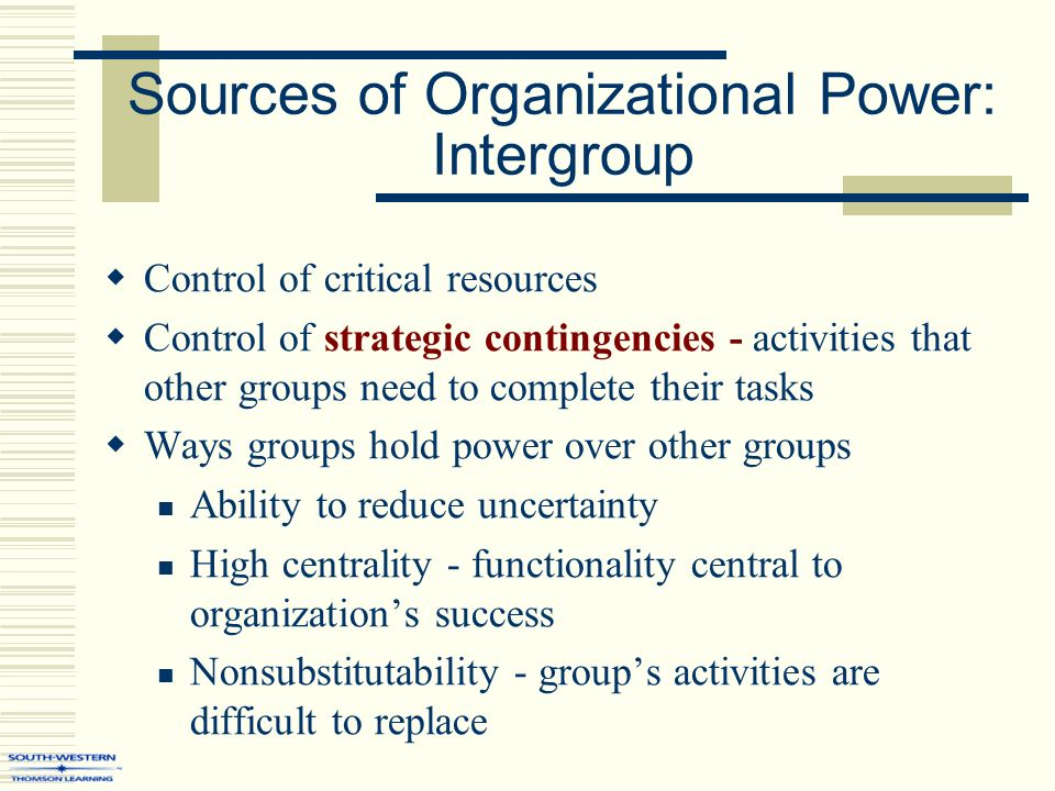 sources of power in an organisation According to charles handys model, there are 4 types of culture which an organizations follows - power,  one of them being the charles handy model.
