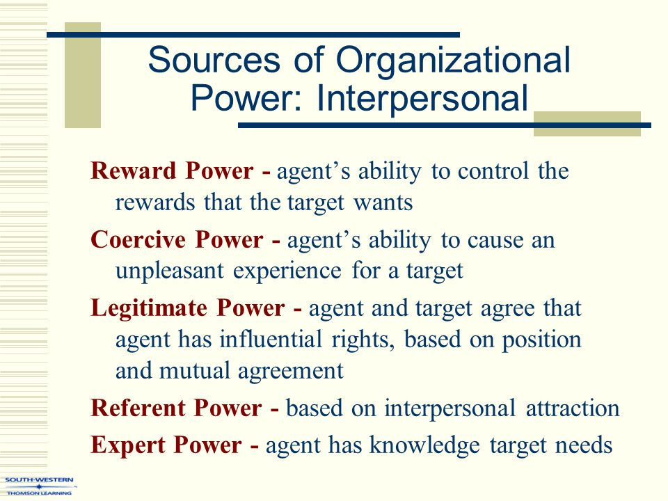 sources of power in organization Leadership and the effective use of power how to accomplish organizational tasks the third power source what matters most in the effective use of power.