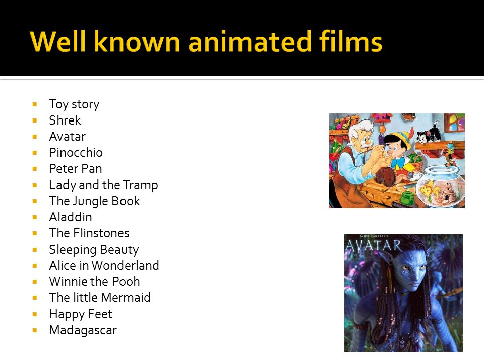 Well known animated films