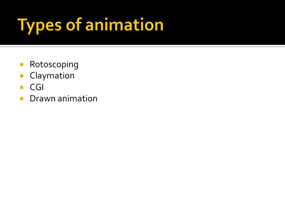 Types of animation Rotoscoping Claymation CGI Drawn animation