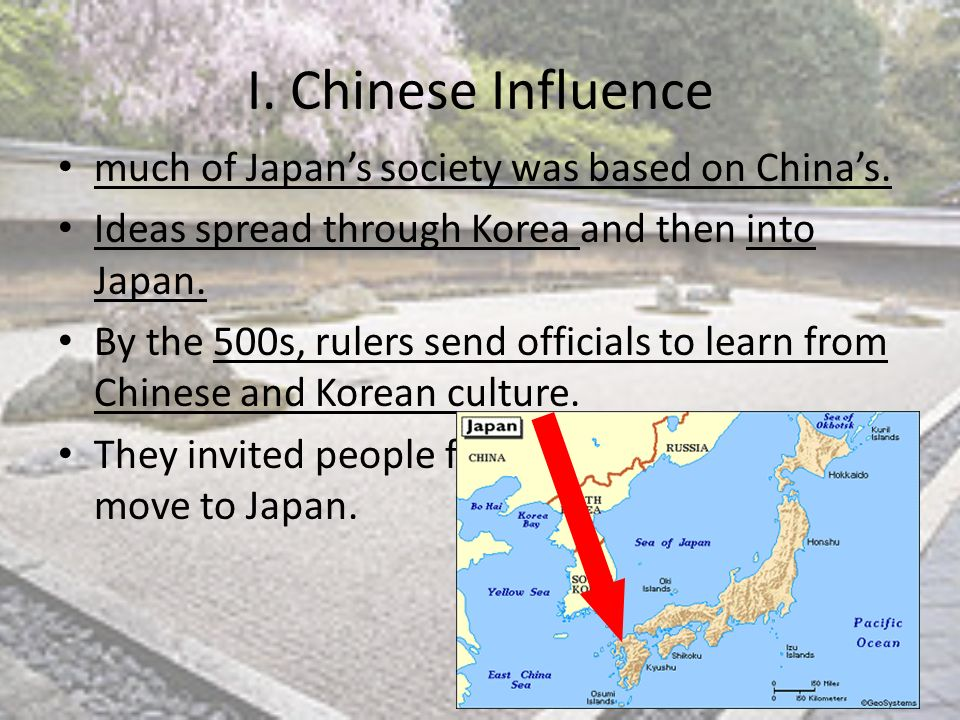 the influence of china on the shaping of korea and japan The chinese were a major factor in shaping japan's  china and korea influenced japan  ad chinese culture flowed out of china and into japan to influence.
