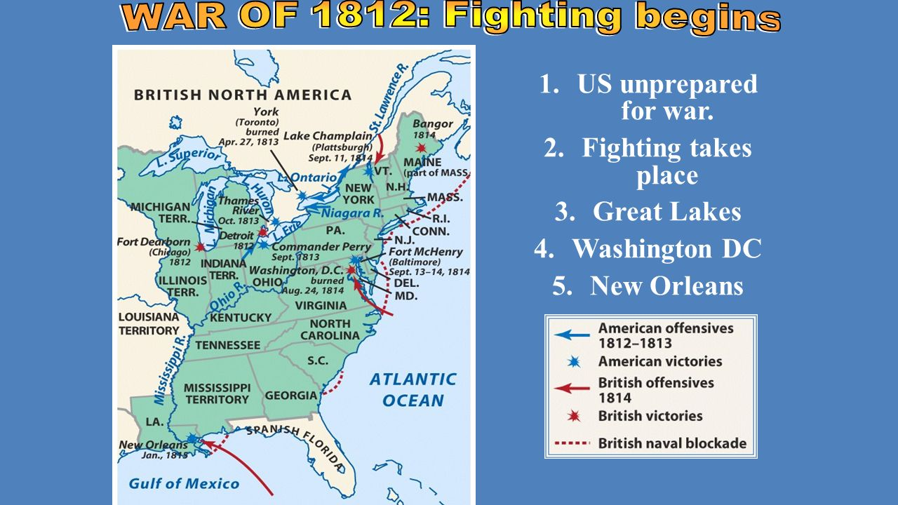 The War Of Mr Madisons War Ppt Download - 1814 us map