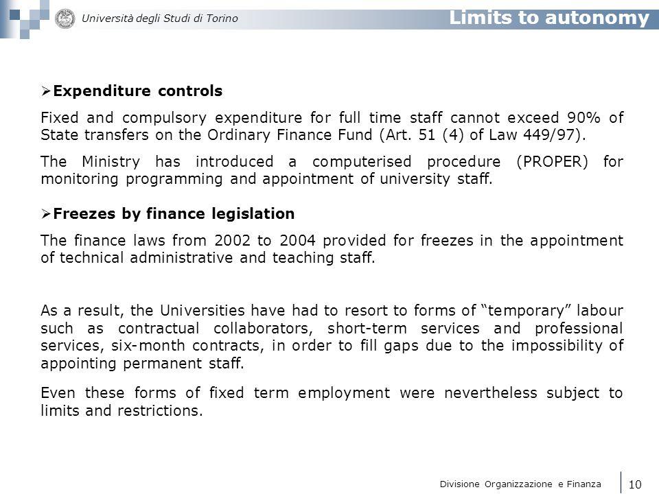 Limits to autonomy Expenditure controls