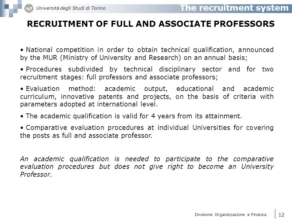 RECRUITMENT OF FULL AND ASSOCIATE PROFESSORS