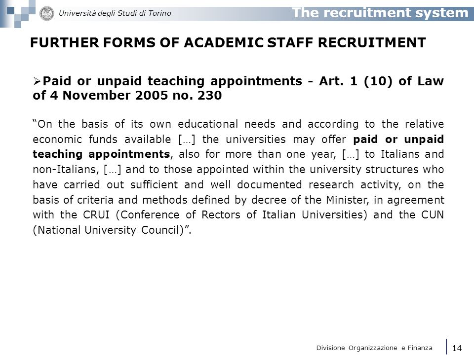 FURTHER FORMS OF ACADEMIC STAFF RECRUITMENT