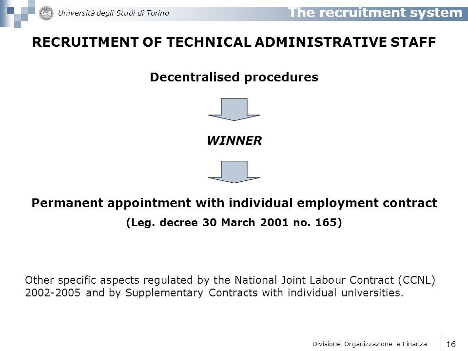 RECRUITMENT OF TECHNICAL ADMINISTRATIVE STAFF