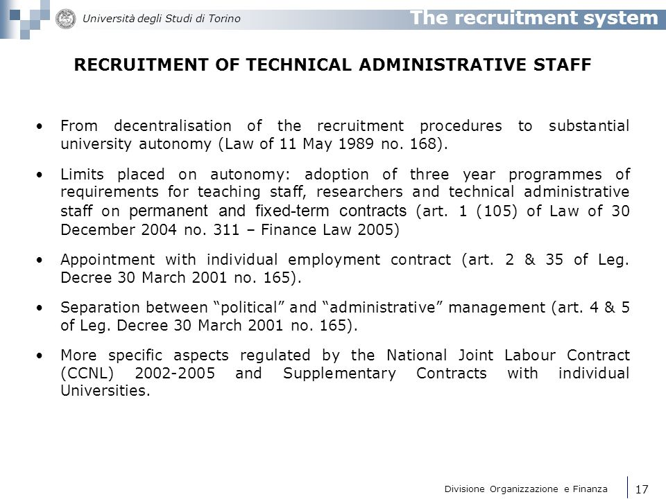 RECRUITMENT OF TECHNICAL ADMINISTRATIVE STAFF