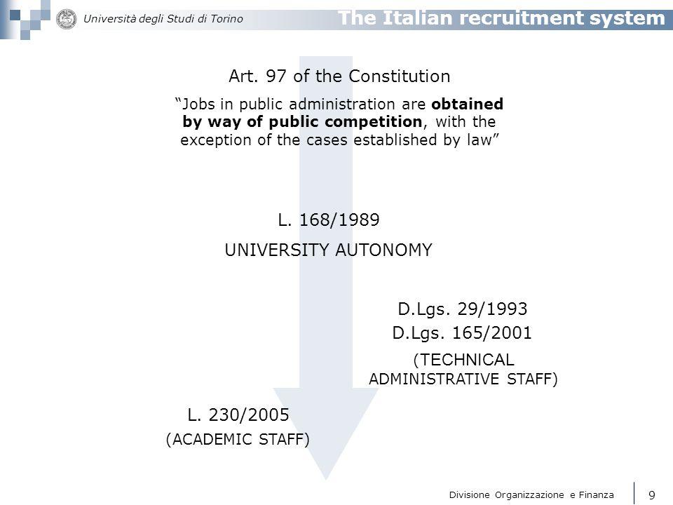 The Italian recruitment system
