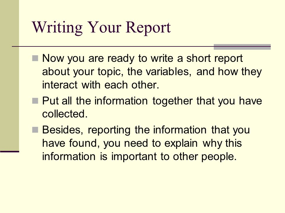 writing short report The basics we are going to learn how to write a simple business report with four sections: introduction findings conclusions recommendations this is the most common type of business report.