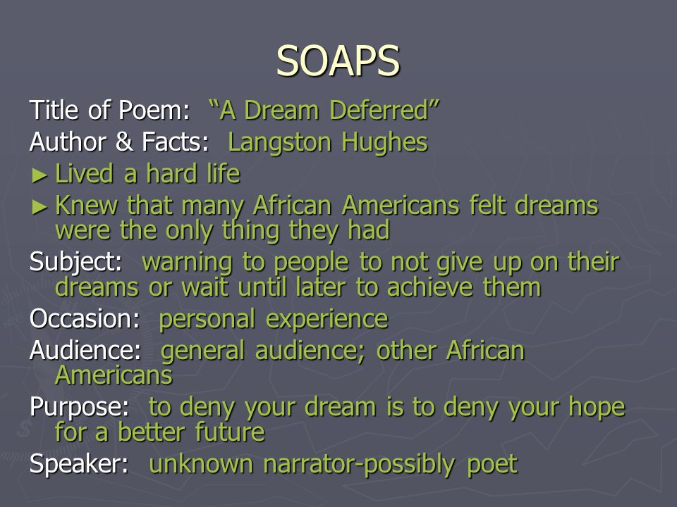 dreams poem analysis