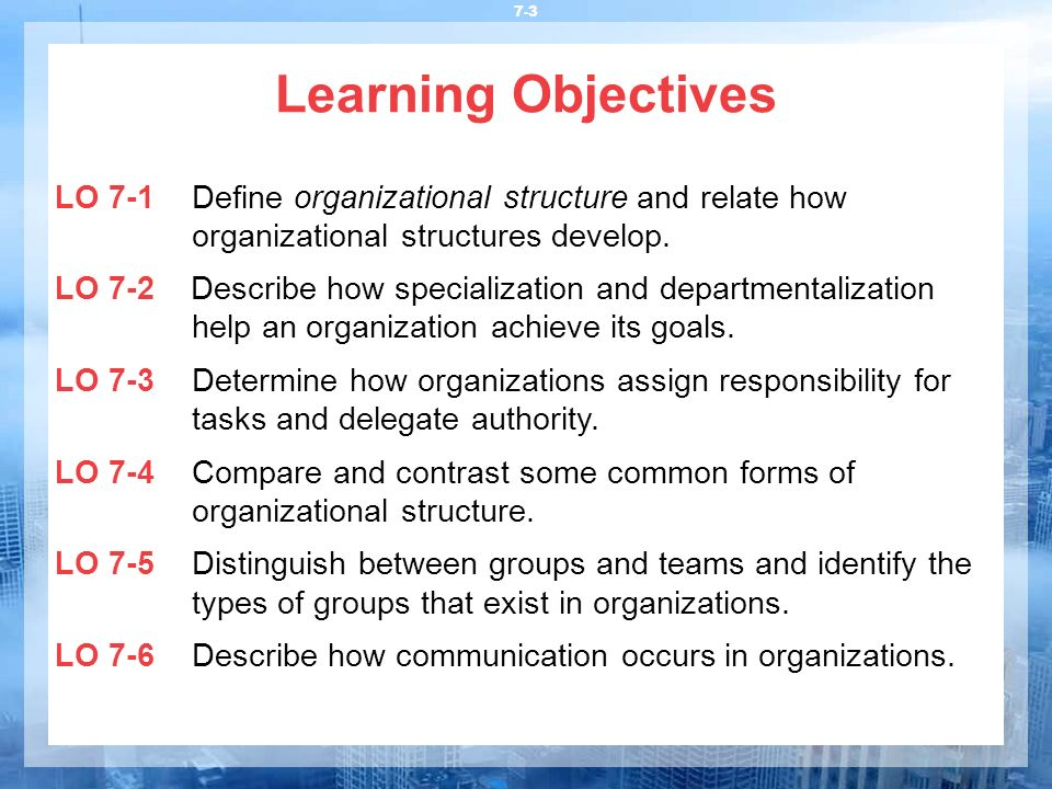 Learning Objectives LO 7-1 Define organizational structure and relate how organizational structures develop.