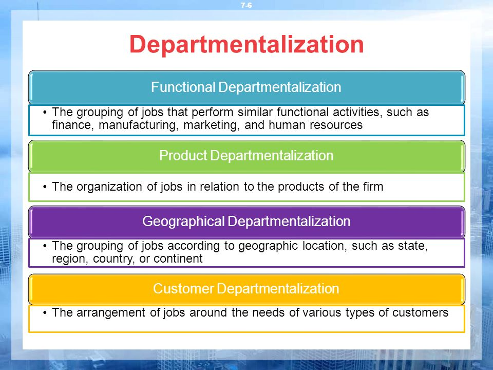 Departmentalization Functional Departmentalization