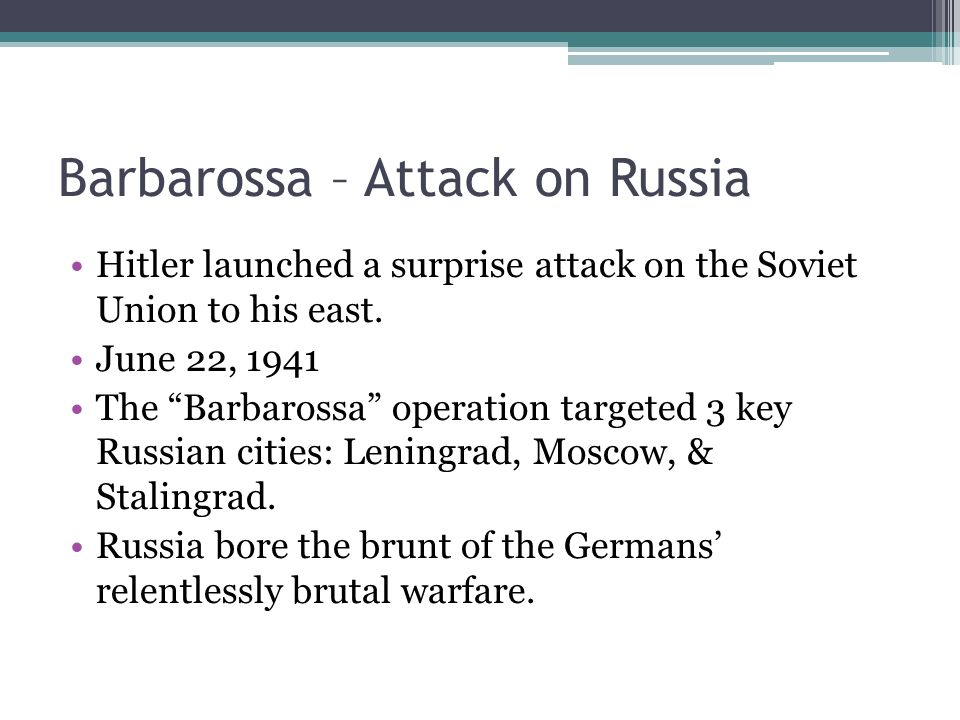 the surprise attack on the soviets in operation barbossa Today june 22 was the 75th anniversary of the start of barbarossa the historic operation launched by  many soviet marshals  surprise attack and.