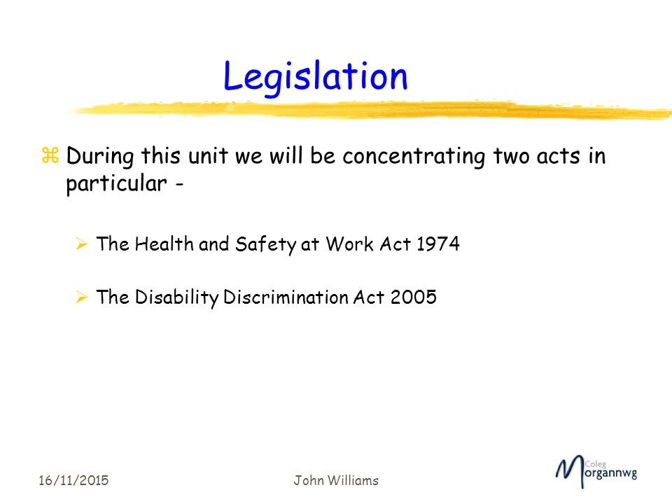 Unit 3 Health and Safety legislations in HSC Assignment