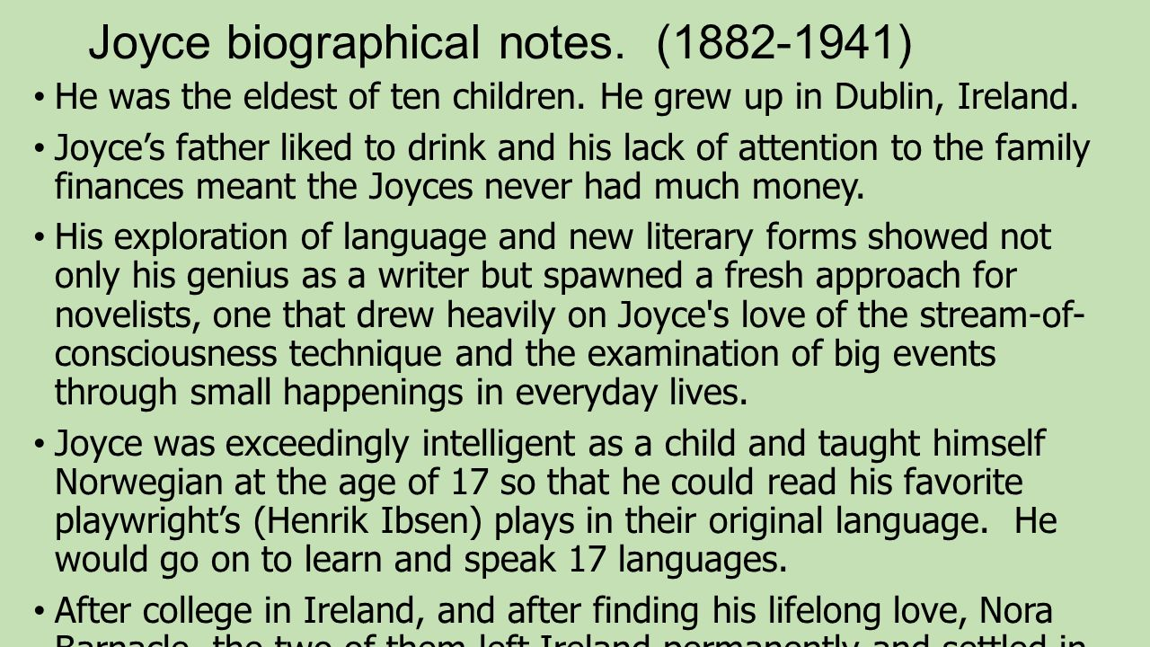 "eveline"" by james joyce ppt video online  3 joyce biographical notes"