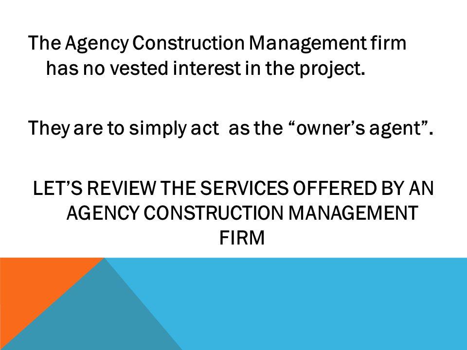 Construction Management Firm : Agency construction management cm not at risk ppt video