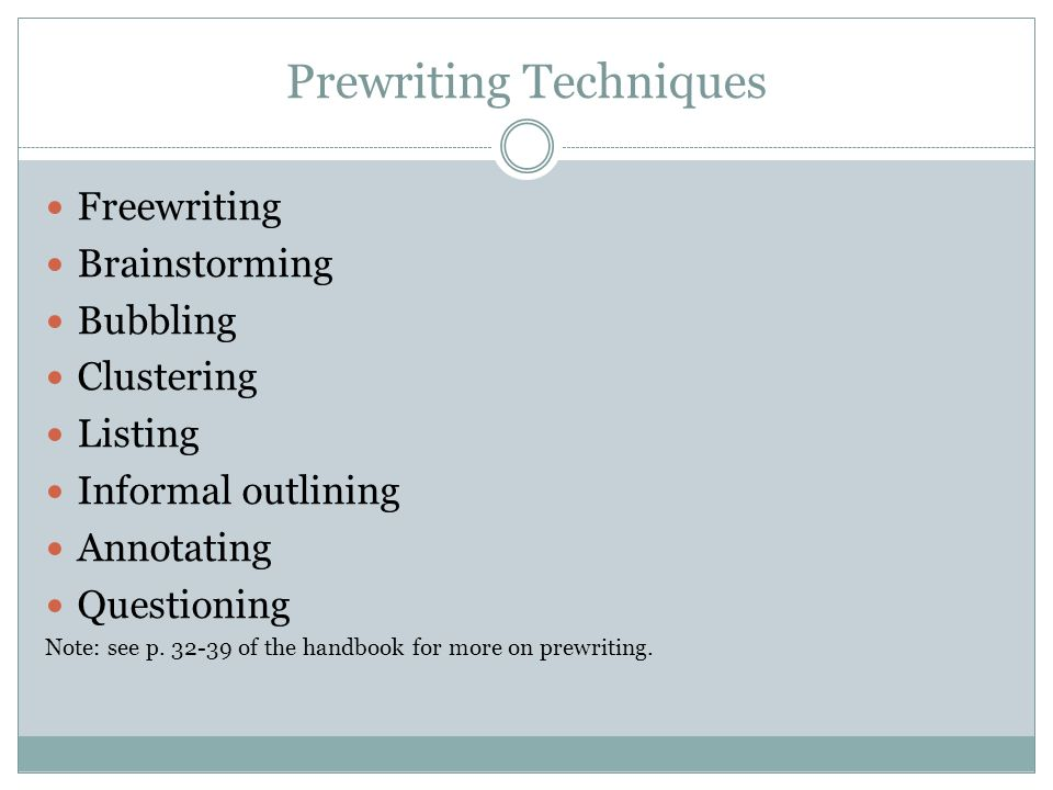 prewriting listing