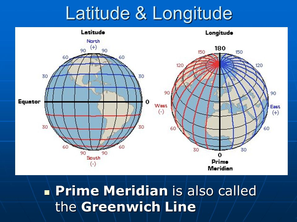 latitude and longitude What is latitude • there are 90 degrees of latitude from the equator to each of the poles, north and south • latitude lines are parallel, that is they are the same.