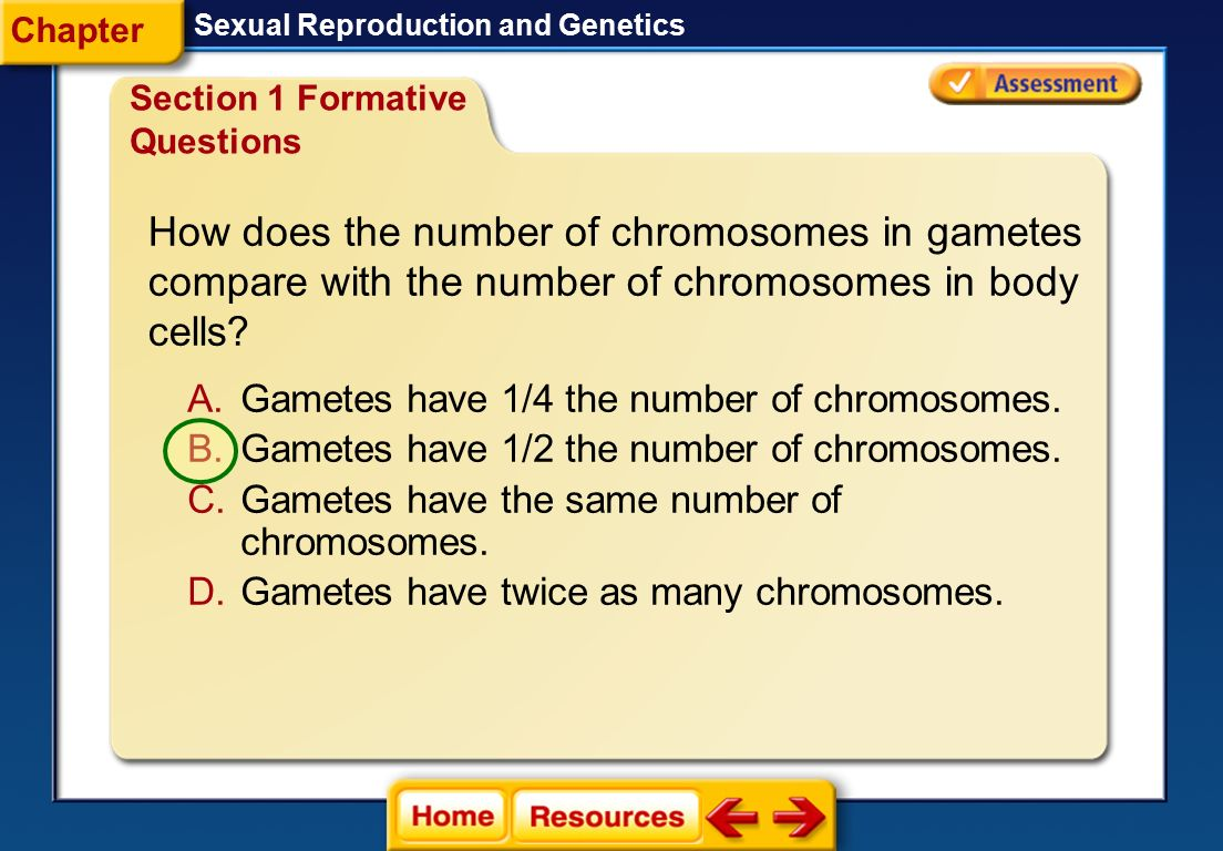 Chapter Sexual Reproduction and Genetics. Section 1 Formative Questions.