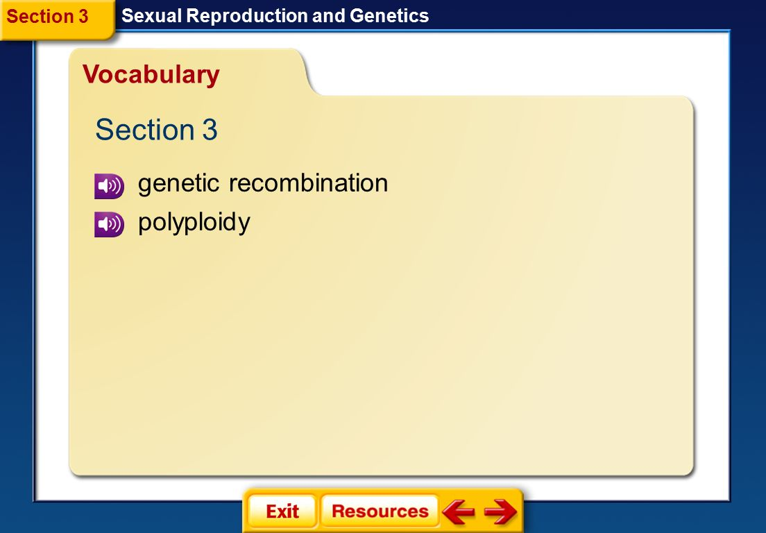 Section 3 Vocabulary genetic recombination polyploidy Section 3
