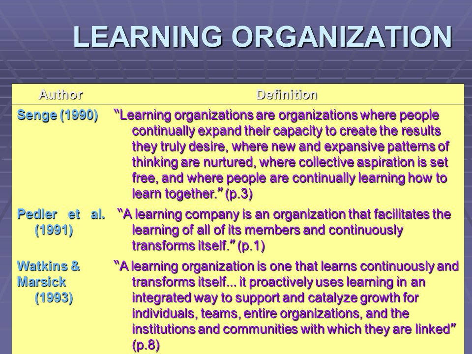 a description of the learning organisation The peter senge five disciplines of learning organizations describes how to  manage the success and development of an organization and how employees  give.