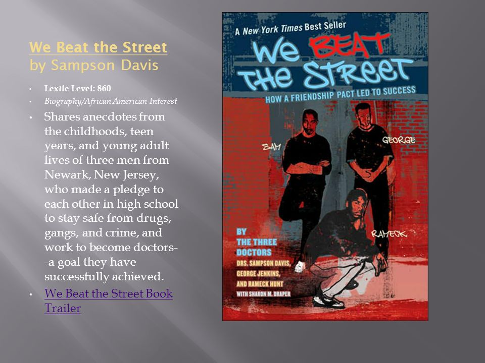 we beat the streets essay Amazoncom: we beat the street: how a friendship pact led to success (9780142406274): sampson davis, george jenkins.