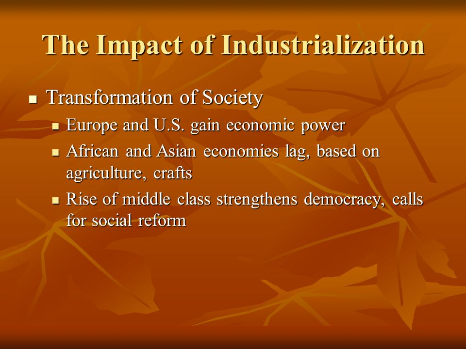 the social impact of industrialization The fourth industrial revolution will also profoundly impact the nature of national and international security, affecting both the probability and the nature of conflict the history of warfare and international security is the history of technological innovation, and today is no exception.