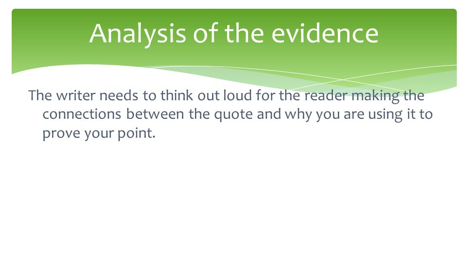 point proof analysis essay How to write a literary analysis essay sentence that states the purpose of your essay -- the point you are trying to make without a.