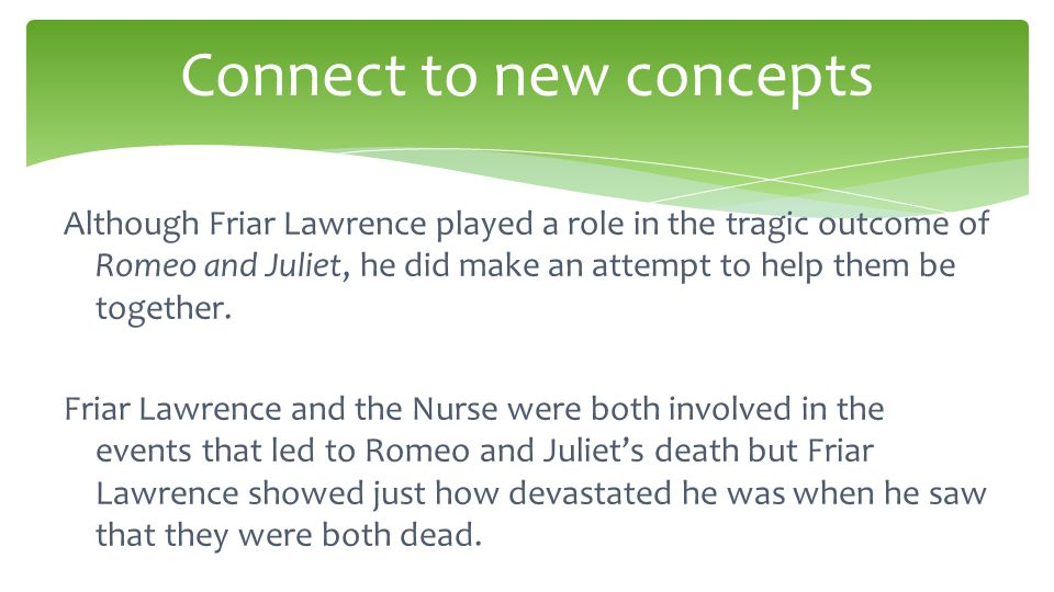 the role of the nurse and friar lawrence in the tragic ends of romeo and juliet The play takes place a year after romeo and juliet's death  capulet, lady  capulet, friar lawrence, and the nurse will  their roles and  tragic death from.