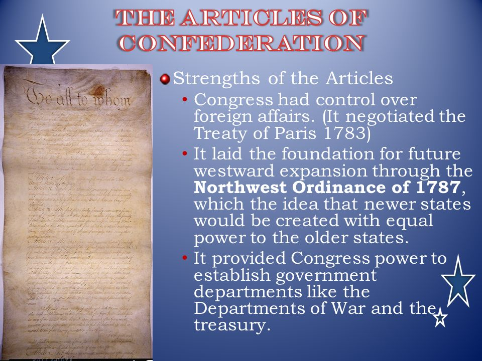 articles regarding confederation and additionally a treaty for paris