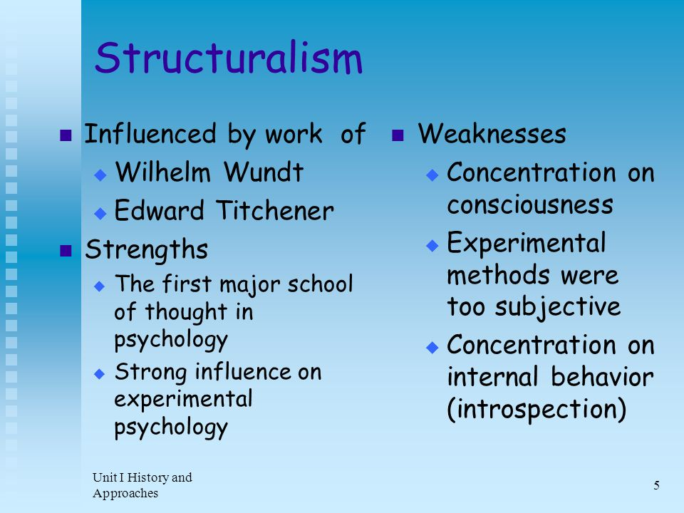 the influence of structuralism and functionalism on modern psychology Structuralism gestalt psychology functionalism behaviorism psychodynamic   adaptive value of behavior ▻ profound influence on most modern psychology .