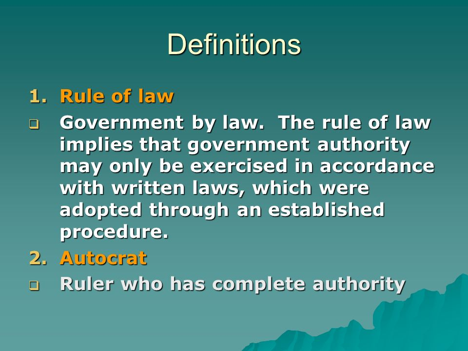 Definitions Rule of law