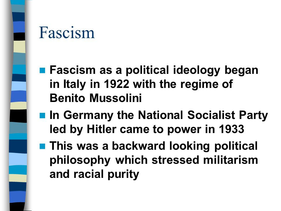 the political ideology of fascism Fascism definition is - a political philosophy, movement, or regime (such as that of the fascisti) that exalts nation and often race above the individual and that stands for a centralized autocratic government headed by a dictatorial leader, severe economic and social regimentation, and forcible suppression of opposition.